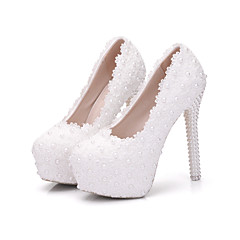 olcso -Női Cipő Valódi bőr Tavasz, Ősz, Tél, Nyár Kényelmes Újdonság Esküvői cipők Erősített lábujj Kompatibilitás Esküvő Party és Estélyi Fehér