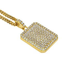 Men's Women's Sticky Rhinestones Pendant Necklaces Rhinestone Triangle Shape Alloy Rock Hiphop Jewelry For Stage Club