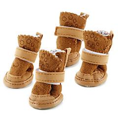 رخيصةأون لوازم حيوانات أليفة-كلب أحذية و جزم جزم الثلج الدفء موضة صلب بني زهري للحيوانات الأليفة