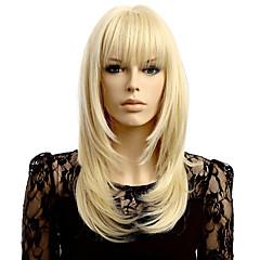 billiga Peruker och hårförlängning-Syntetiska peruker Vågigt Syntetiskt hår Naturlig hårlinje Blond Peruk Dam Korta Naturlig peruk Utan lock