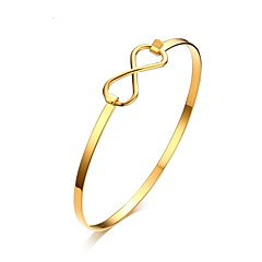 cheap Bracelets-Women's Bangles Vintage Elegant Titanium Steel 18K Gold Plated Circle Infinity Jewelry For Wedding Engagement Daily Ceremony Office &
