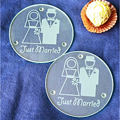 Glass Coaster Favors-2 Piece/Set Holiday Wedding