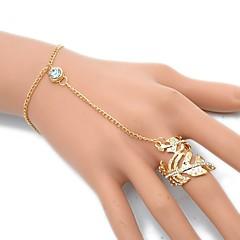 olcso -Női Gyűrű karkötők Strassz Európai Szikla Ötvözet Leaf Shape Ékszerek Kompatibilitás Parti Napi