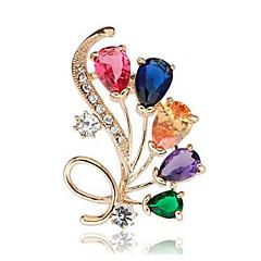 billige Motebrosjer-Dame Krystall / Syntetisk Diamant Nåler - Krystall, Fuskediamant Blomst Klassisk, Mote Brosje Gull / Sølv Til Daglig / Formell