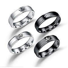 cheap Men's Rings-Men's Couple Rings Band Ring - Stainless Heart, Crown Sweet Jewelry Black / Silver For Wedding Masquerade Engagement Party Prom Date Valentine 5 / 6 / 7 / 8 / 9