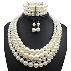 cheap Jewelry Sets-Women's Pearl Jewelry Set - Imitation Pearl Statement, Ladies Include Beige For Casual Evening Party / Earrings / Necklace