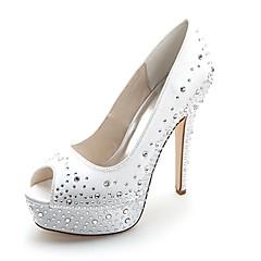 olcso -Női Cipő Szatén Tavasz Nyár Magasított talpú Esküvői cipők Tűsarok Köröm Strasszkő mert Esküvő Party és Estélyi Piros Kék Rózsaszín