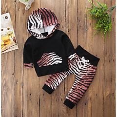 billige Tøjsæt til piger-Baby Pige Aktiv Farveblok / Dyr Langærmet Bomuld Tøjsæt / Sødt