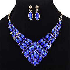 baratos Conjuntos de Bijuteria-Mulheres Cristal Geométrica Conjunto de jóias - Cristal Fashion Incluir Amarelo Claro / Vermelho / Azul Para Casamento Festa