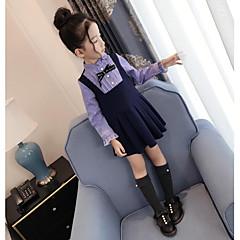baratos Roupas de Meninas-Menina de Vestido Casual Listrado Primavera Outono Algodão Poliéster Manga Longa Activo Azul Marinha