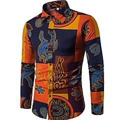 Heren Vintage Chinoiserie Boho Overhemd, Weekend Club Bloemen Opstaande boord Slank
