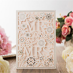 cheap Wedding Invitations-Flat Card Wedding Invitations 20pcs-Invitation Cards Artistic Style Bride & Groom Style Floral Floral Style Embossed Paper Scattered Bead