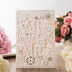 baratos Convites de Casamento-Cartão Raso Convites de casamento 20pçs - Cartões de convite Estilo Artístico Estilo Noiva e Noivo Floral Estilo Floral Papel com Relevo