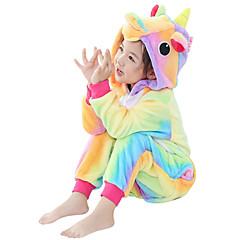 Crianças Pijamas Kigurumi Unicórnio Cavalo Voador Pijamas Macacão Flanela Amarelo Cosplay Para Meninos e meninas Pijamas Animais desenho animado Dia das Bruxas Festival / Celebração