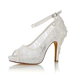 preiswerte -Damen Schuhe Stretch - Satin Sommer Pumps Hochzeit Schuhe Stöckelabsatz Peep Toe Perle für Kleid Party & Festivität Elfenbein
