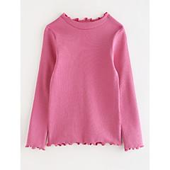 お買い得  女児 トップス-女の子 ソリッド コットン Tシャツ 秋 カトゥーン ブルー グリーン パープル イエロー
