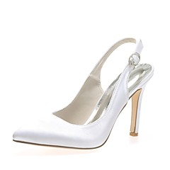 cheap Wedding Shoes-Women's Shoes Satin Spring Summer Basic Pump Wedding Shoes Stiletto Heel Pointed Toe Buckle for Wedding Party & Evening Silver Red Blue