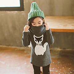 billige Sweaters og cardigans til piger-Pige Simple Trykt mønster Langærmet Polyester Trøje og cardigan Mørkegrå