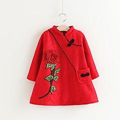 baratos Roupas de Meninas-Menina de Vestido Natal Sólido Bordado Inverno Outono Algodão Poliéster Manga Longa Temática Asiática Vermelho