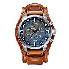Herrn Armbanduhr Modeuhr Armbanduhren für den Alltag Chinesisch Quartz Kalender Großes Ziffernblatt Armbanduhren für den Alltag Leder Band
