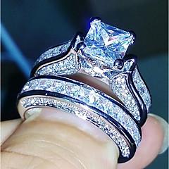 levne -Dámské Široké prsteny Kubický zirkon Na běžné nošení Módní Elegantní Měď Geometric Shape Čtyřzubec Šperky Svatební