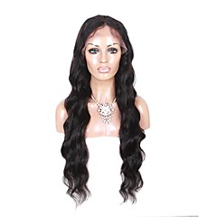 cheap Wigs & Hair Pieces-Human Hair Lace Front Wig Brazilian Hair Wavy Body Wave Loose Wave Natural Black Wig Middle Part 130% Density with Baby Hair 100% Virgin Unprocessed Natural Black Women's Short Medium Length Long