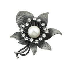 billige Motebrosjer-Dame Nåler Imitert Perle Grunnleggende Mote Legering Blomst Smykker Til Stevnemøte Gate