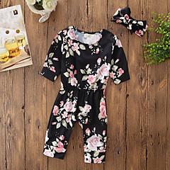 billige Babytøj-Baby Pige Simple / Aktiv I-byen-tøj / Afslappet / Hverdag Prikker / Blomstret Langærmet Bomuld Bodysuit / Sødt