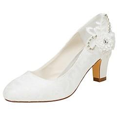 preiswerte -Damen Schuhe Stretch - Satin Frühling Herbst Pumps Hochzeit Schuhe Blockabsatz Runde Zehe Kristall Perle für Kleid Party & Festivität