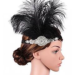 Büyük Gatsby Frapan Kafa Bandı 1920'ler Siyah Yapay Elmas / Tüy Parti Balo Cosplay Aksesuarları Maskeli Balo Kostümler