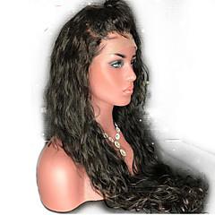 billiga Peruker och hårförlängning-Äkta hår Halvnät utan lim Spetsfront Peruk Brasilianskt hår Naturligt vågigt Peruk Med babyhår 130% Hårtäthet Naturlig hårlinje Afro-amerikansk peruk 100% Jungfru Korta Mellan Lång Äkta peruker med