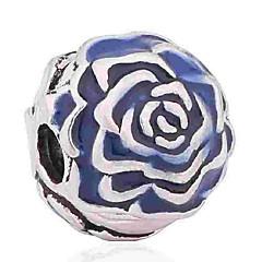 baratos Miçangas & Fabricação de Bijuterias-Jóias DIY 1 pçs Contas Esmalte Liga Azul Azul Real Flor Bead 0.5 cm faça você mesmo Colar Pulseiras