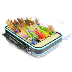 cheap Fishing Lures & Flies-64 pcs Fishing Lures Soft Bait / Flies Feather / Carbon Steel Sea Fishing / Fly Fishing / Bait Casting / Jigging Fishing / Freshwater Fishing / Lure Fishing / General Fishing