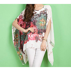 Women's Polyester Oversized Blouse - Floral Geometric