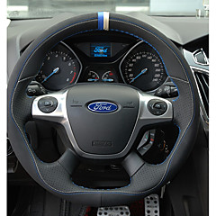 billige Rattovertrekk til bilen-Rattovertrekk til bilen ekte lær 38 cm Oransje / Rød / Svart / Blå For Ford Taurus / Focus / Escort Alle år