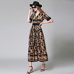 Damen Etuikleid Kleid - Pelzkragen, Blumen Geometrisch Maxi V-Ausschnitt