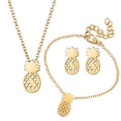 baratos Conjuntos de Bijuteria-Mulheres Conjunto de jóias - Fruta Incluir Dourado / Prata Para Presente / Rua / Brincos