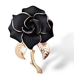 billige Motebrosjer-Dame Nåler Smykker Klassisk Elegant Mote Legering Blomst Hvit Svart Smykker Til Daglig Formell