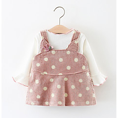 billige Babytøj-Baby Pige Simple Fest Prikker Langærmet Bomuld Tøjsæt