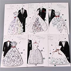 baratos Convites de Casamento-Dobrado de Lado Convites de casamento 6 conjuntos - Cartões de convite Conjuntos de Convites Estilo Artístico Estilo vintage Estilo Noiva