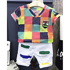 billige Tøjsæt til drenge-Drenge Tøjsæt Daglig Multi Farve, Bomuld Sommer Halvlange ærmer Hvid