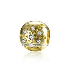billige Perler og smykkemaking-DIY Smykker 1 stk Perler Gullbelagt Sølv Fuskediamant Gull Ball Perlene 1.1 cm DIY Halskjeder Armbånd