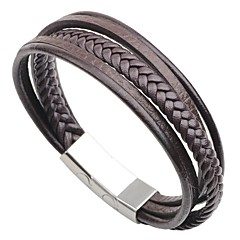 cheap Men's Jewelry-Men's Stainless Steel Leather 1pc Bracelet - Casual Fashion Circle Black Coffee Bracelet For Going out Street