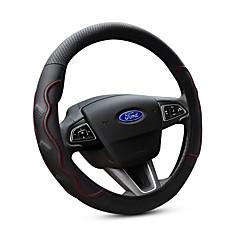 billige Rattovertrekk til bilen-Rattovertrekk til bilen ekte lær 38 cm Svart / Rød Til Ford Focus / Escort / Fiesta Alle år