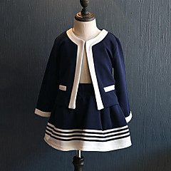 billige Tøjsæt til piger-Pige Tøjsæt Daglig I-byen-tøj Stribet Patchwork, Rayon Forår Efterår Langærmet Afslappet Gade Navyblå
