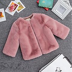 tanie Odzież dla dziewczynek-Dzieci Dla dziewczynek Prosty Solidne kolory Długi rękaw Krótkie Bluzka