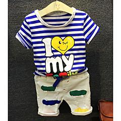billige Tøjsæt til drenge-Baby Drenge Ferie Stribet / Tegneserie Halvlange ærmer Kort Kort Bomuld Tøjsæt / Chic & Moderne
