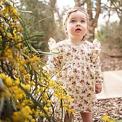 billige Babykjoler-Baby Pige Simple / Vintage Daglig Ensfarvet / Blomstret Kortærmet Normal Normal Bomuld / Hør / Bambus Fiber Kjole Lyserød
