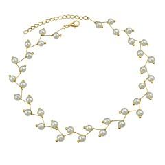 billige Halsbånd-Dame Imiteret Perle Kort halskæde  -  Simple Basale Guld Halskæder Til Daglig Stævnemøde