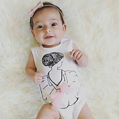 billige Babytøj-Baby Pige Simple Ensfarvet Uden ærmer Bomuld / Hør / Bambus Fiber Bodysuit